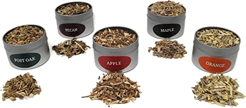 Jax Smok'in Tinder Extra FINE Smoke Gun Wood Chips Variety Pack - Five of Our Popular Premium FINE Chips - APPLEWOOD, Post Oak, Orange, Maple and Pecan in 4 Ounce Tins for Handheld Smoke Infuser