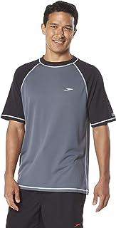 Speedo Men's Short Sleeve Easy Rash Guard Swim Shirt with Uv and UPF 50+ Protection