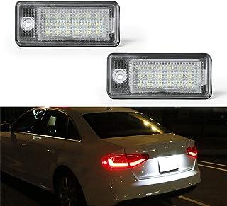 Luz de matrícula LED OZ-LAMPE 2 X Luz de la matrícula 18 SMD con resistor de bus CAN incorporado y luz de placa de ahorro de energía impermeable sin errores Para AUD-I A3 A4 A5 A6 A8/S8 Q7