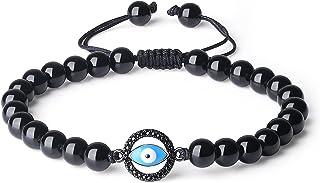 coai Bracelet Ajustable Mauvais Œil Obsidienne Unisexe