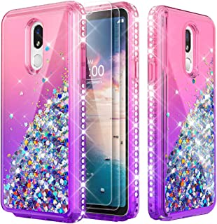Glitter Phone Case for LG Stylo 5,Shockproof Clear Case [with Tempered Glass Screen Protector,2 Pack],Moving Liquid Quicksand Cover for Girl Women,for LG Stylo 5 Only (Pink/Purple)