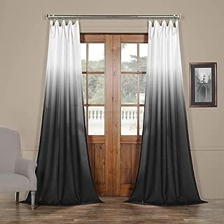 FELCH-OMB1710-84 Ombre Faux Linen Semi Sheer Curtain, Black, 50 x 84