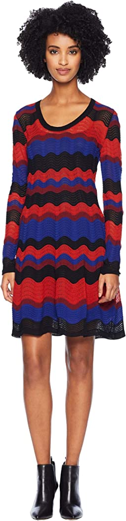 Macro Ripple Long Sleeve Scoop Neck Dress