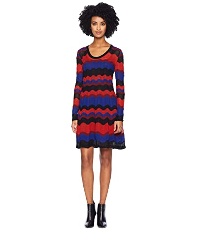 M Missoni Macro Ripple Long Sleeve Scoop Neck Dress (Cobalt) Women