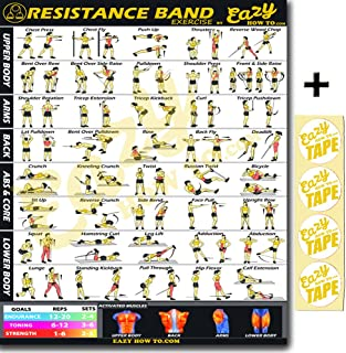 Eazy How To Resistance Band Exercise Workout Banner Poster BIG 28 X 20