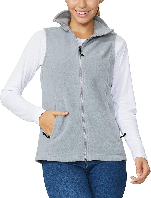 Baleaf Women's Outdoor Fleece Vest Zipper Pockets
