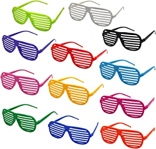 M-Aimee Shutter Glasses Shades Sunglasses for Party Favors Costume-12 Pack-Assorted Colors