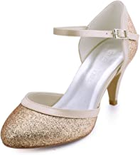 ElegantPark HC1510 Zapatos de Novia Tacon Alto Correas de Tobillo Cerradas Glitter Zapatos de Fiesta de Boda Mujer