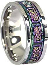 Fantasy Forge Jewelry Rainbow Celtic Spinner Ring Stainless Steel 8mm Comfort Fit Wedding Band Sizes 3-15