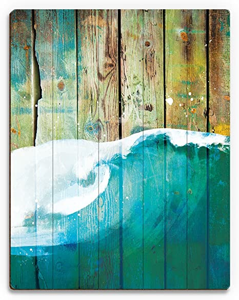 Rustic Wave Main Nautical Painting Of Curling Sea Ocean Wave On Distressed Wood Plank Pattern For Beach House Wall Art Print On Wood Posters Prints