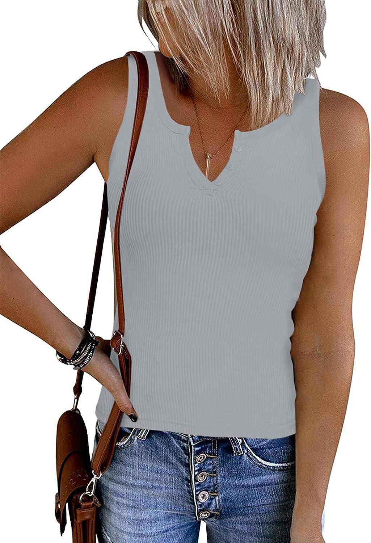 Dellytop Women's V Neck Racerback Tank Tops Summer Sleeveless Ribbed Knit Button Shirts
