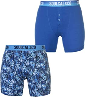 SoulCal Mens 2 Pack of Boxers Boxer Underwear Pattern Stretch Elasticated Waist