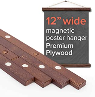 """Stiicks 12"""" Wide Magnetic Poster Frame Hanger in Walnut – Premium Plywood and Magnets Strong Enough to Hang Any Length"""
