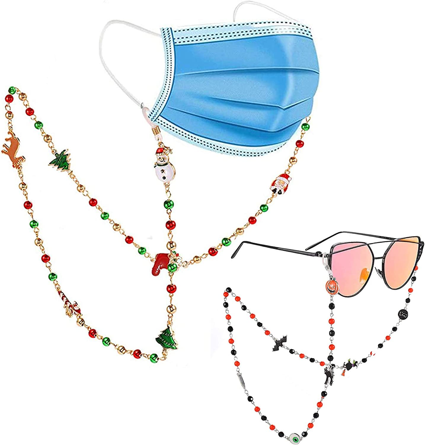 Halloween Mask Lanyard Christmas Beaded Face Mask Eyeglass Sunglasses Chain Anti-Lost Mask Holder Around The Neck Face Mask Rest For Woman Man