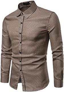 Soft and Close Leisure Fashion Men's Long-Sleeved Shirt, Buttoned Shirt Slim Plaid Men's Spring, Machine Washable wl (Color : Brown, Size : S)