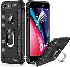 LeYi Custodia iPhone 7/8,iPhone 6 / 6S Cover, 360° Girevole Regolabile Ring Armor Bumper TPU Case Magnetica Supporto Silicone Custodie con HD Pellicola per Apple iPhone 6 / 6S / 7/8 Case Nero