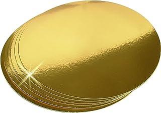 Lot de 10 supports à gâteau en carton doré - Rond de 26 cm - Jetables