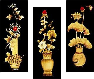 SAF Set of 3 Flower Floral Pot UV Coated 6MM MDF Home Decorative Gift Item Painting 15 inch X 18 inch SANFJ25