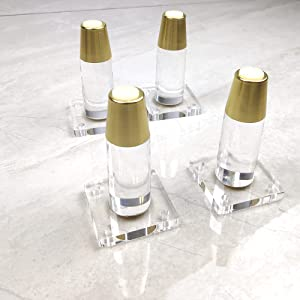 Acrylic Legs for Furniture 4.8 inch Golden feet ronnd Tapered with top Plate mounting Modern DIY Furniture Legs Set of 4 for Cabinet Coffee Table etc