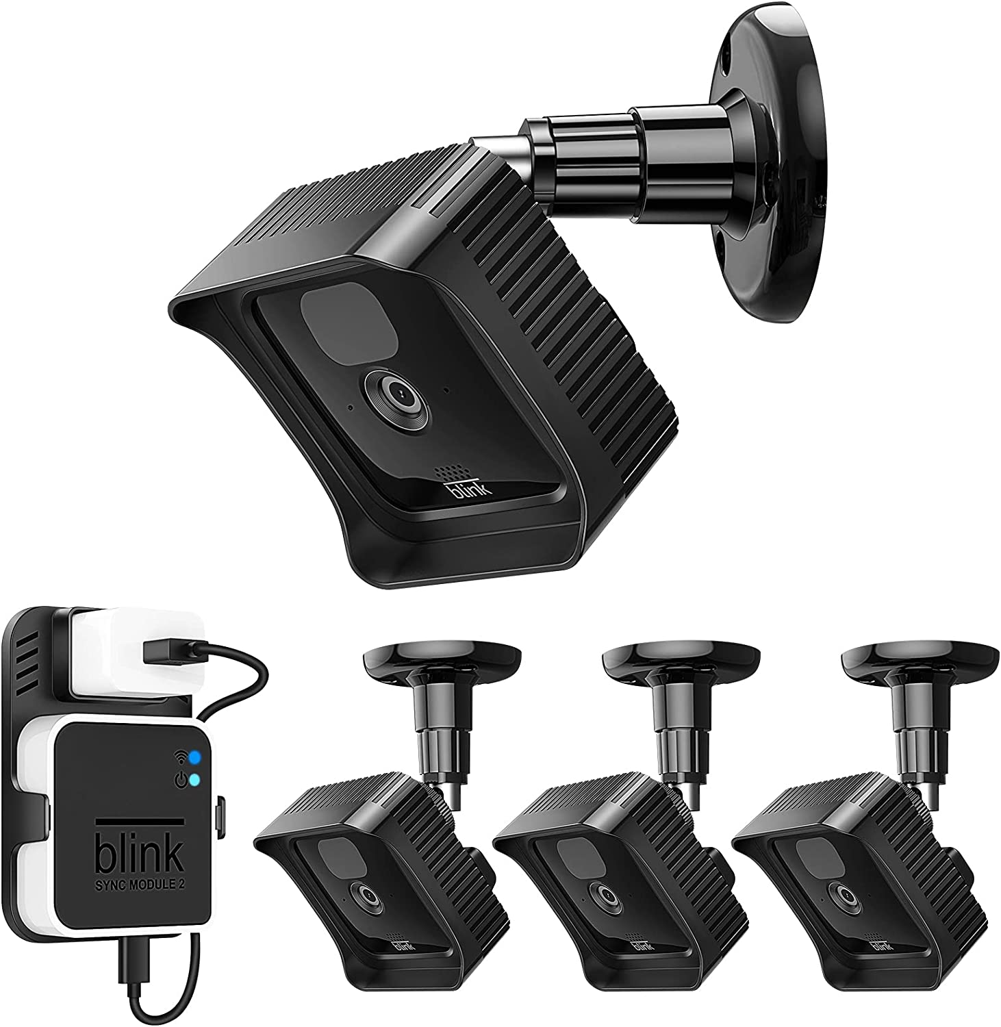 Fintie Wall Mounts and Housing for All-New Blink Outdoor Camera, Adjustable Bracket and Case with Blink Sync Module 2 Outlet Mount for Blink Camera Security
