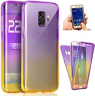 Uposao Kompatibel med Samsung Galaxy A8 2018 360 graders skydd stötfångare fodral helkroppsskydd smal kristall transparent...