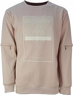 Men's Amsterdam Tokyo Travel City Zip Sleeve Peach Sweatshirt Jumper Size