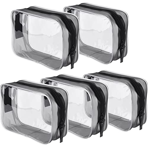 5 Pack Clear PVC Zippered Toiletry Carry Pouch Portable Cosmetic Makeup Bag  for Vacation 6ed14db02d4a0