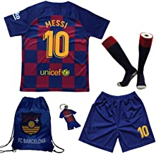 BIRDBOX Youth Sportswear Barcelona Leo Messi 10 Kids Home Soccer Jersey/Shorts Bag Keychain Football Socks Set