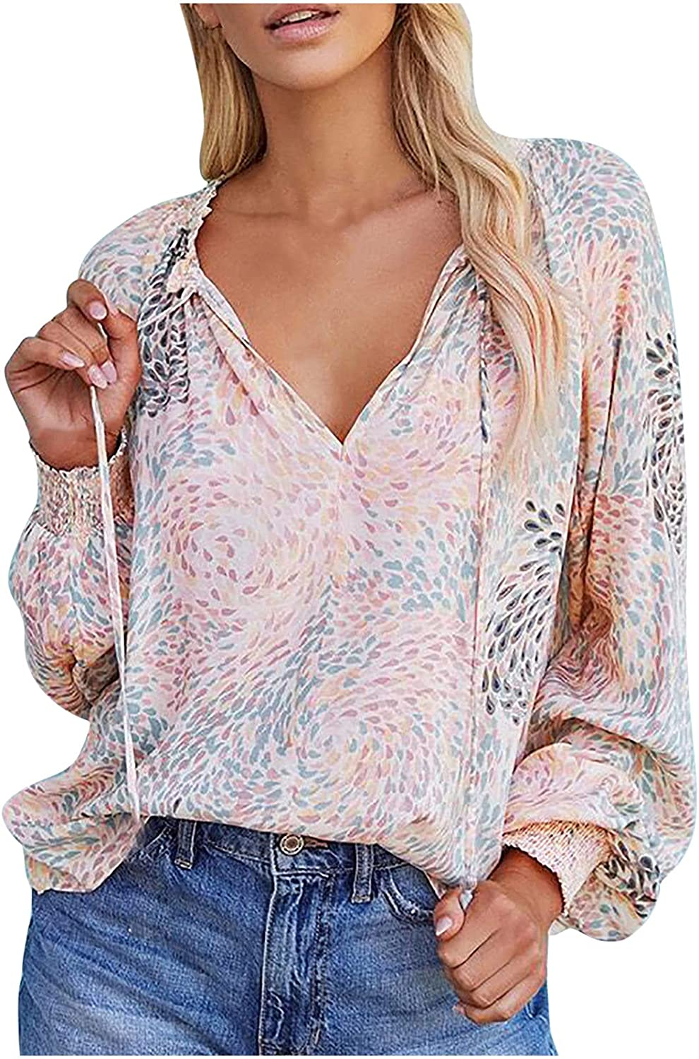 Sexy V Neck Tops for Women Long Sleeve Tunic Tops Vintage Fall Shirts Fashion Print Pullover Blouse Loose Fit
