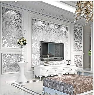 3D Damsk Wallpaper, Modern Non-Woven Sliver Flower Pattern Wallpaper Home Decor Wallpaper..