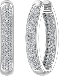 0.50 Ct Round Cut Simulated Diamond Inside-Out Fancy Hoop Earrings In Solid 10K White Gold