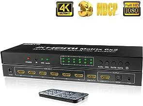 SGEYR HDMI Matrix 6x2 HDMI Matrix Switch Spillter HDMI Matrix 6 Input 2 Output HDMI Switch Audio Extractor SPDIF HDMI Switch Splitter with IR Remote Support ARC 4K@30Hz (HDMI Matrix 6X2)