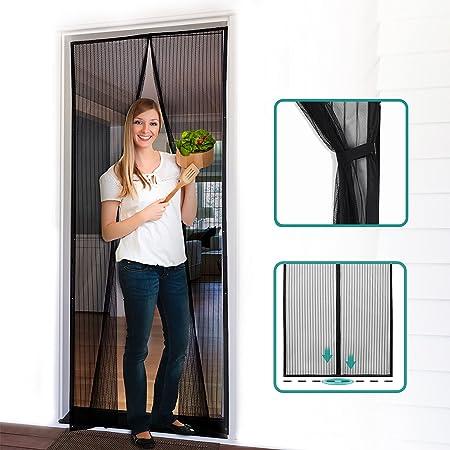 "Homitt HT-SD01 screen door, 39""83"", Black- Polyester"
