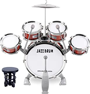 M SANMERSEN Toddler Drum Kit Kids Toy Jazz Drum Set 5 Drums with Stool Mini Band Rock Set Musical Instruments Toy Birthday...