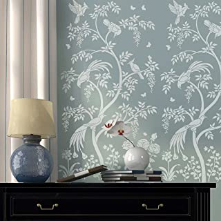 Birds and Berries Chinoiserie Wall Mural Stencil - DIY Asian Garden Decor - Reusable stencils for Home Makeovers (Small)