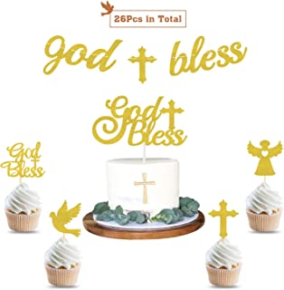 God Bless Baptism Banner First Communion Party Decorations Kit Baptism Cake and Cupcake Toppers for Christening,Wedding, Baby Shower Party