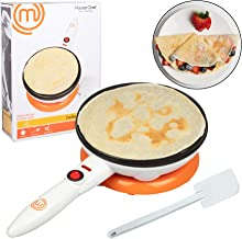 MasterChef Cordless Crepe Maker with FREE Recipe Guide- Non-stick Dipping Plate plus Electric Base and Spatula, Fun Gift