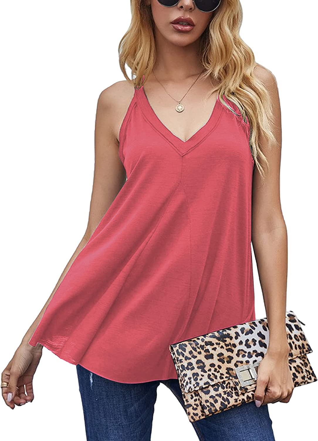 Chigant Women's V Neck Tank Tops Loose Casual Flowy Sleeveless Camisole Top