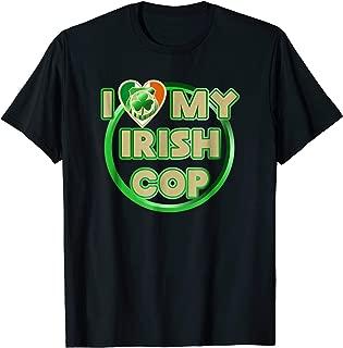 I Love My Irish Cop Shamrock Police Tee Shirt