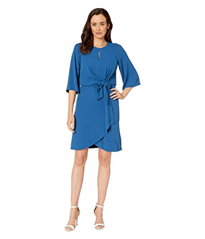 Tahari by ASL Short Sleeve Crepe Shift w/ Keyhole Neck (Slate Blue) Women