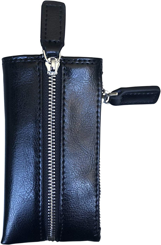 Key Holder Wallet Genuine Leather Key Organizer Case for Men Women Pocket Key Purse with 6 Hooks & 1 Zipper Coin Pouch