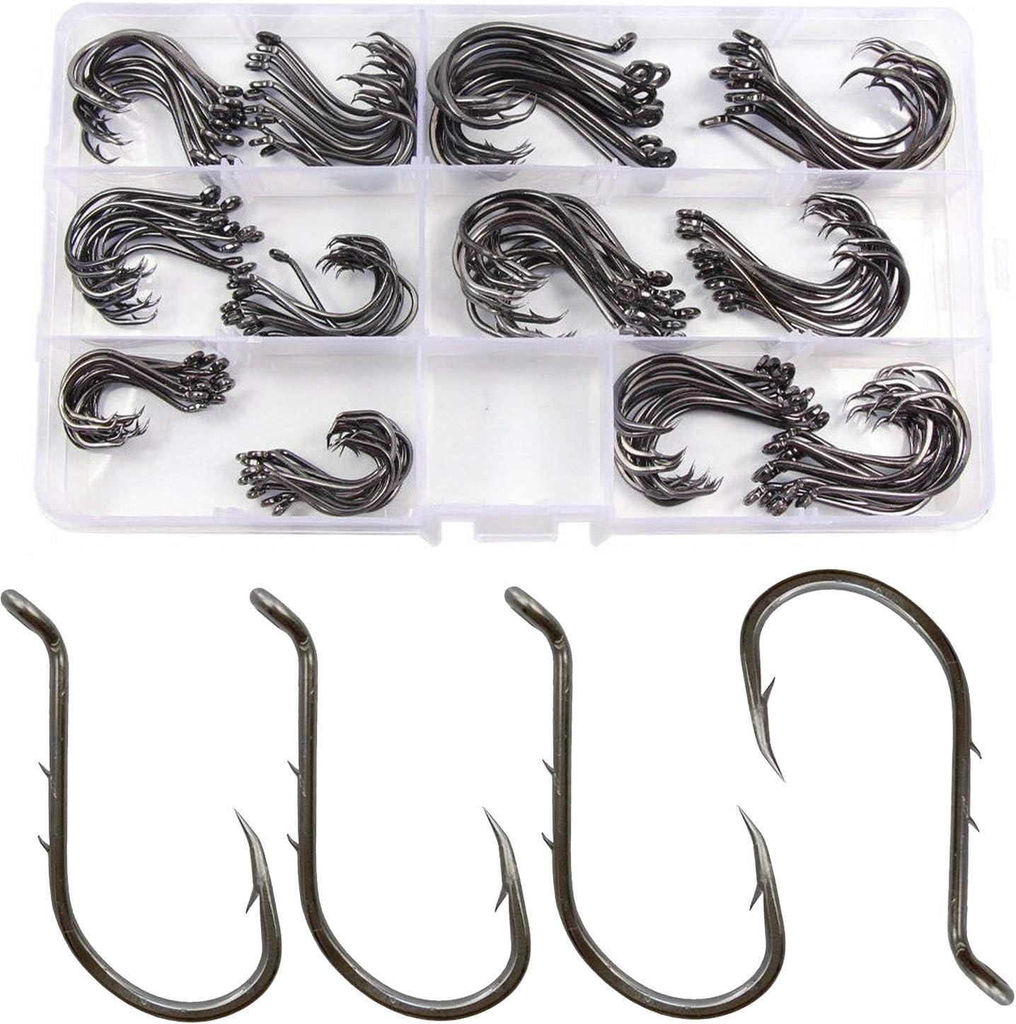 50pcs Octopus Fishing Hook Barbed Baitholder Fishhook Carbon Steel Fishhook 8299