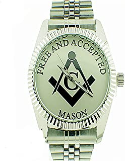 Masonic/Free Mason Watch, Premium Quality, with Stainless Steel Band,Comes with Collectible Masonic Watch Box WM 976 RHD