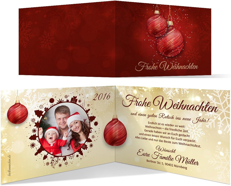 Weihnachtskarten (50 (50 (50 Stück) - Weihnachtskugeln - Grußkarten als Klappkarten B01LY1CQ2S | Zuverlässige Leistung  32be55