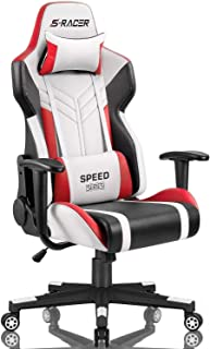 Homall Racing Style High-Back PU Leather Office Computer Desk Executive and Ergonomic Swivel Chair with Headrest and Lumba...