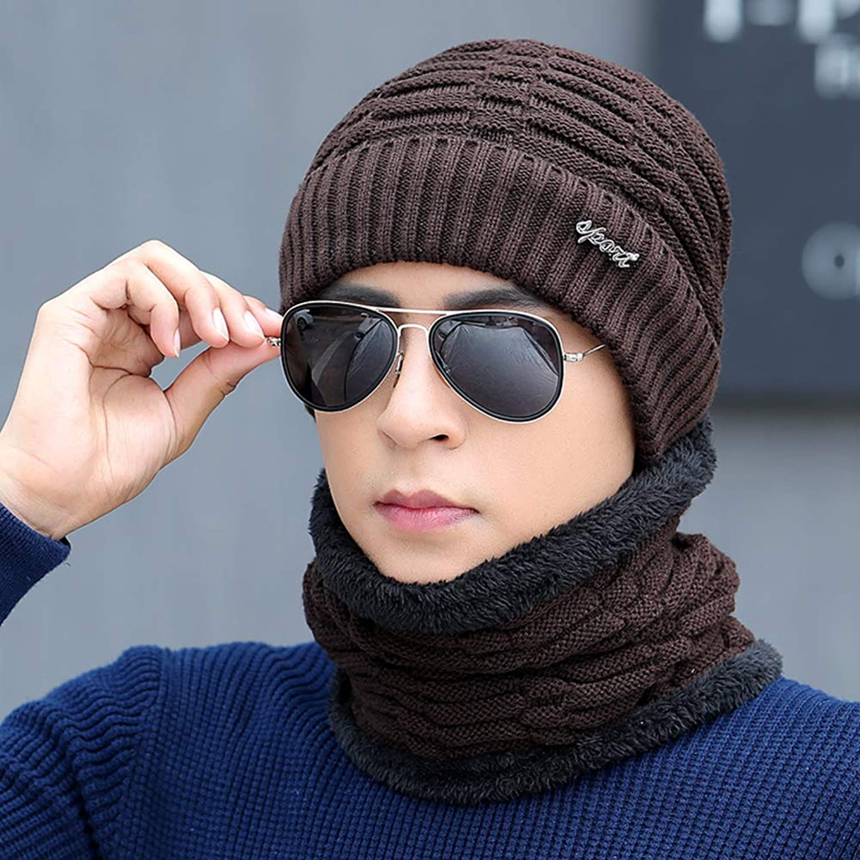 0cf98636 2-Pieces Winter Beanie hat hat hat Scarf for Men Women Set Warm Knit hat  Thick Fleece Lined ski Comfortable-L a87964