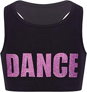 YOOJIA Kids Girls Gymnastic Sports Workout Yoga Crop Bra Top Racer Back Shiny Letters Dance Printed Tank Top