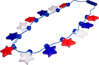 Fun Central LED Flashing Patriotic Stars Necklace for Kids & Adults - 4th of July Party Accessories