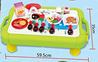 LOZUSA Kitchen Playset 2 in 1 Portable Table Use as Carry Case in Green Yellow Color Suitcase Variety Kitchen Tools Utensi...