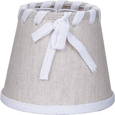 Better & Best 1117120 Abat-jour en lin avec pince de fixation pour ampoules type bougie avec nœud et ruban Lin/blanc 12 cm